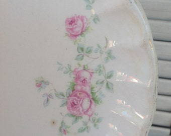 Pink Cabbage Rose Vintage Serving Platter - Shabby Chic Vintage Kitchen - Mid Century Table Top Serving