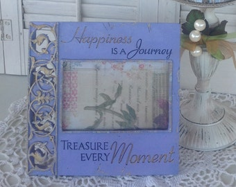 HAPPINESS is a JOURNEY' Picture Frame / 4 x 6 / Lavender Table Top or Hanging Picture Frame