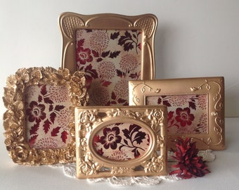 Metallic Gold Ornate Picture Frames - Set of 4 Table Top - 8 x 10, 4 x 6, 3 x 5