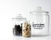 Vintage Swinson Glass Storage Jar - Huge Heavy Duty Size - Retro Kitchen Storage Organizer, Black Home Decor, Snack Jar, Classic Vintage