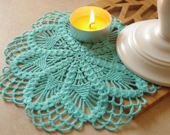 Crochet doily Turquoise crochet doily Small flower doily Small crochet doilies Crochet flower doilies Small doilies