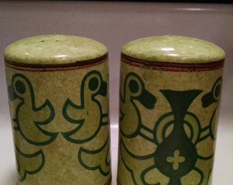70s Green Stoneware Salt and Pepper Shakers