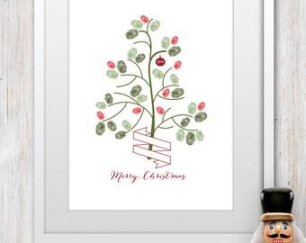 2016 Printable Kids Christmas Fingerprint Tree Craft