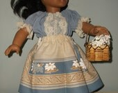 18  inch American girl Josephina outfit skirt, peasant top and basket of flowers by Project Funway on Etsy