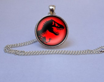Jurassic Park Silver Pendant Necklace