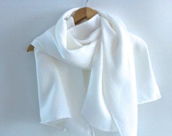 White Linen Scarf / Shawl