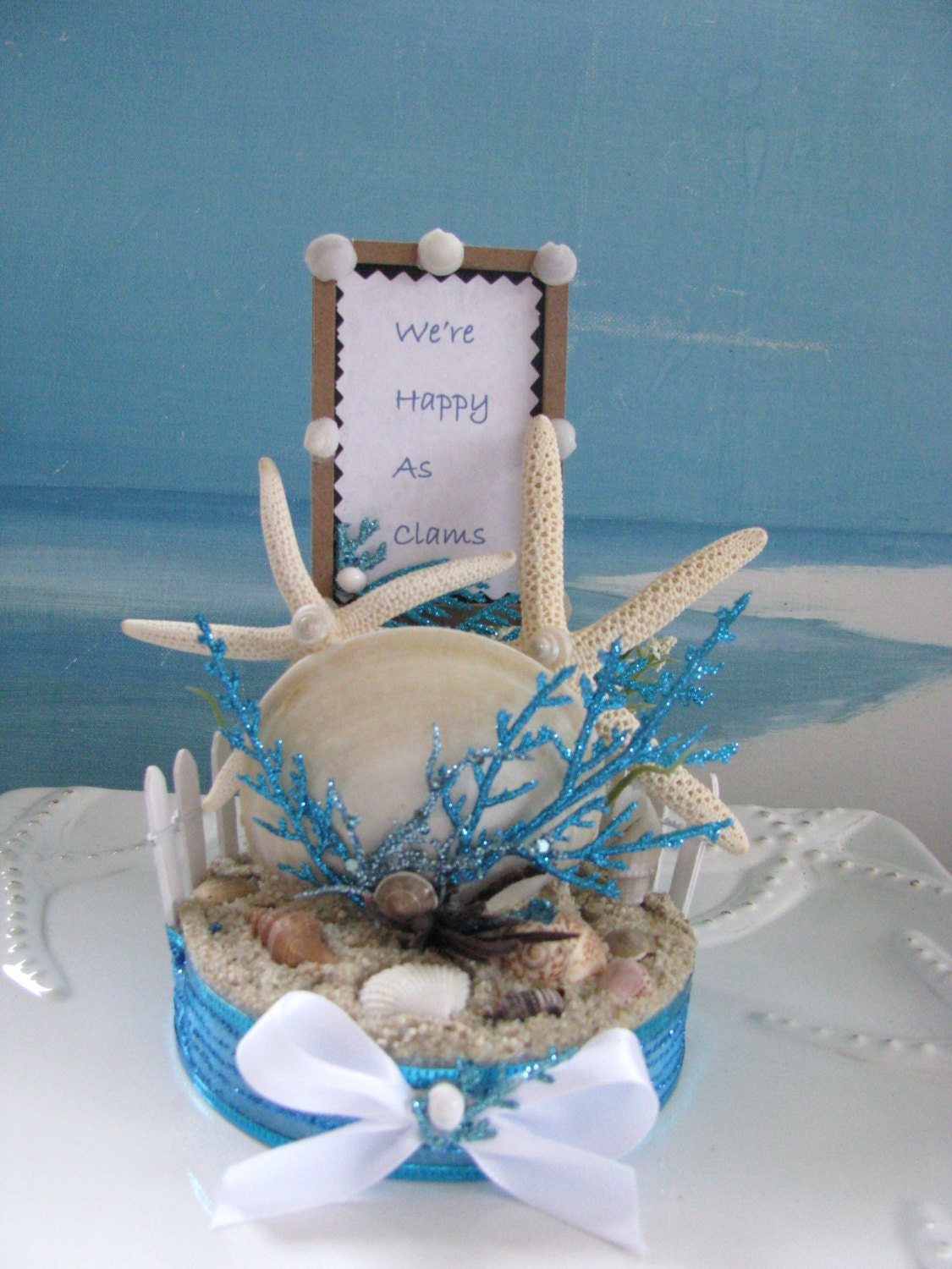 Starfish Clam Seashell Beach Wedding Cake Topper Coastal