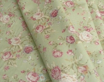 Floral Rose cotton Poplin print Fabric Vintage style dusky pink and sage green - by the metre - UK SELLER