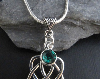 Celtic Silver Trinity Heart Birthstone Necklace