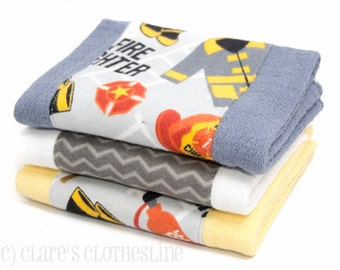 Baby Burp Cloths - Gray, Red and Yellow Firefighter Burp Cloth Set of 3 - READY TO SHIP