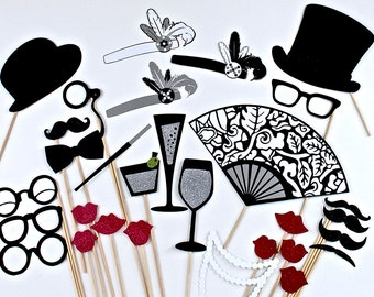 20s Photo Booth Props - 1920s Great Gatsby Inspired Wedding Photobooth Prop
