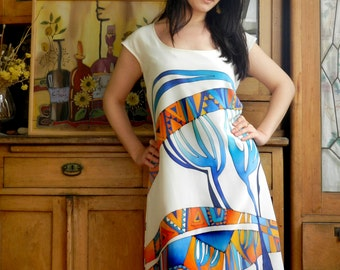 Summer silk dress. Large size silk dress. Hand painted silk dress, blue tree dress. Blue and orange silk dress Ready to ship.