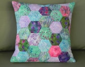 Hexagon Pillow Cover in a Riot of Purple