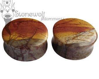"""Multi-Coloured Picasso Jasper Stone Plugs 1"""" (25mm) for Stretched Ears Piercings Handmade - Ready to Ship"""