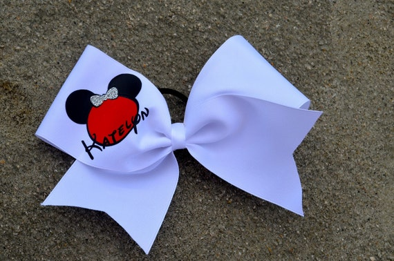 Minnie Mouse Bow Ears Personalized Name Girls Disney Mickey Minnie CHEER Pony Tail Bow