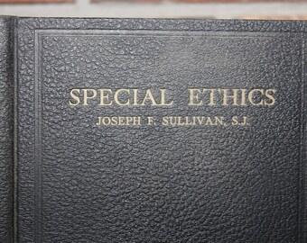 Sale 20% Off, Special Ethics by Joseph F. Sullivan 1949 Vintage Book, Black Book, Black and Gold, Religious Book, Library Decor, Black Decor