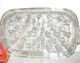 Set of Four Vintage 1950s Hazel Atlas Glass Luncheon Snack Plates, Vintage Glassware 4 Piece Plate Set
