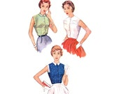 1950s Blouse Pattern Simplicity 4679, Sleeveless Top, Square Armholes, Shaped Collar, Flap Trim, 1954 Vintage Sewing Pattern Bust 30