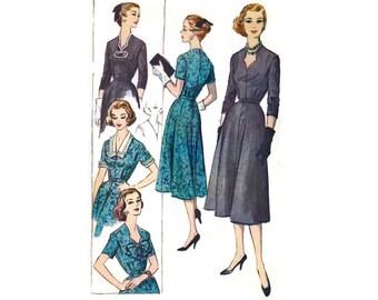 1950s Dress Pattern McCalls 4302, Flared Skirt, Sweetheart Neckline, Collar Cuff Accessories, 1957 Vintage Sewing Pattern Bust 38 Uncut