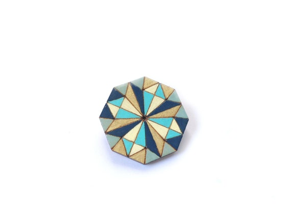 Octagon Laser Cut Diamond Wheel Stained Glass Wooden Brooch