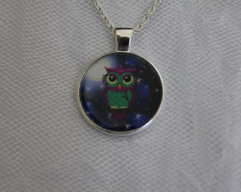 Purple and Green Owl Pendant