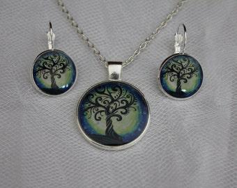 Tree Of Life Pendant & Lever Back Earrings
