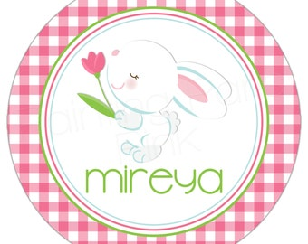 """Easter Bunny Personalized 10"""" Melamine Plate or 20 oz. Bowl 
