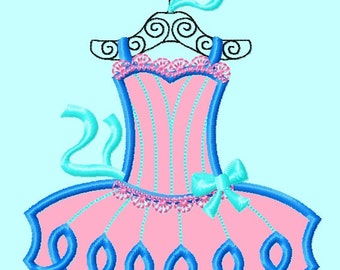 Ballerina Dress Blue Applique Embroidery Design    INSTANT DOWNLOAD