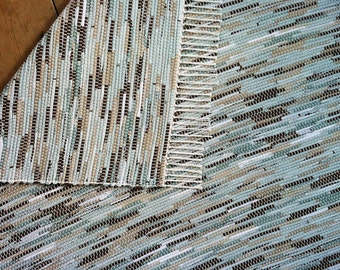 4x6 Rag Rug / Aquamarine, Blue, Brown, Tan, White