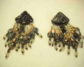 """Vintage 1980s 4 1/4"""" Long Pierced Dangle Earrings (9367)"""