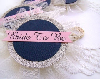 Bridal Shower Corsage, Bride Pin, Bride Badge, Bachelorette Party Pins, Hen Party Pins, Wedding Party Badges, Navy Blush Wedding
