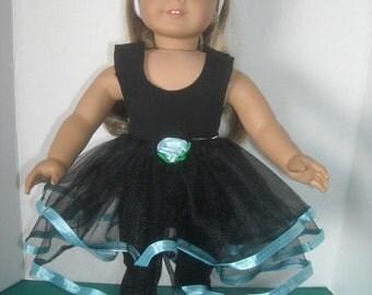 """AmericanGirl,18""""Doll Black Dance Tutu, Leotard, Leggins and Accessories."""
