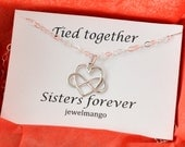 Infinity heart necklace, Sisters Necklace, Silver big sis, little sis,lil sis,sisters jewelry, sterling silver,tied together sisters forever