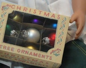 American Girl Doll Size Miniature Christmas Tree Ornaments in Vintage Look Box 9 Assorted Colors 1:3 Scale
