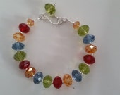 Sparkling Multicolored Crystal and Sterling Silver Bracelet