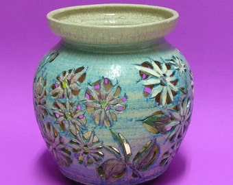 Lantern, Candle Holder, Votive Holder, Luminary, Patio Candle Jar, Vase of ceramic in Gray and Turquoise with Turquoise and Pink Daisies.
