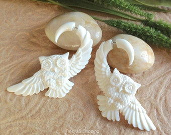 "Fake Gauge Earrings, ""Owl In Flight"" Naturally Organic, Bone, Handcrafted, Tribal"