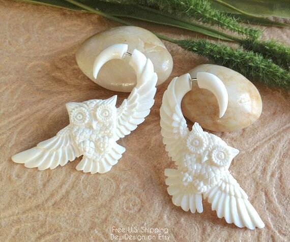 "Fake Gauge Earrings, ""Owl In Flight"" Naturally Organic, Bone, Handcrafted, Tribal"