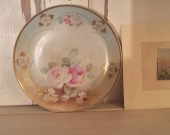 Antique German roses cabinet plate