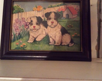 Adorable Wood Framed Puppies Print *Embroidery Accents *Kids Room Decor *Nursery Decor