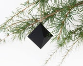Black Ball for Christmas Tree. Origami. Plants Ornament . Diamond . Accessory Holidays. Colorful Ornament. Original Christmas Decoration