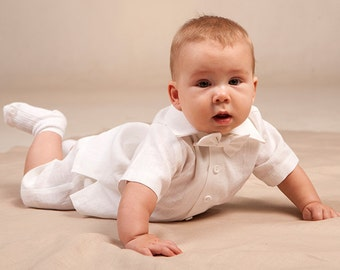 Baby boy baptism outfits Christening boy outfits Baby boy white linen suit 1st birthday shirt shorts bow tie Wedding baby boy formal suit