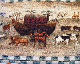 Noah's Ark Tapestry By Carol Endres Folk Artist With Original Tag On Wood Dowels Wall Hanging