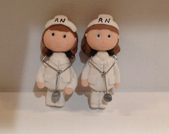 Polymer clay Nurse magnets,ornaments,collector item,handmade