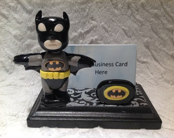 Polymer clay Batman business card holder, gift idea, Batman fan, collector, comic book owner, video game business owner,