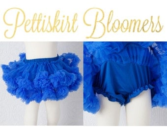 Pettiskirt Bloomer - Royal Blue - Newborn TUTU Bloomers Baby Royal Blue all in one bloomer attached to petti skirt
