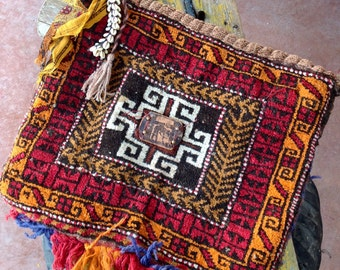 AZTECA --Vintage handwoven Saddlebag, unisex, tote, carryall, tribal, India, Tibet, Laptop, iPad, Notebook, carpetbag--CURRENT STOCK
