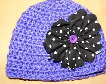 Crochet Beanie with Polka Dot Flower