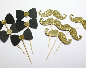 24 double sided(BLACK & GOLD), Mixed,Cupcake Toppers ,Party Picks, Food Picks, Table Decoration