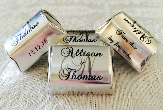 210 SILVER FOIL Personalized Monogram Wedding Candy wrappers/stickers/labels that fit your Hershey Nuggets for any party/event! GREAT Favors